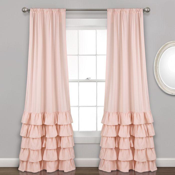 Details About Allison Ruffle Window Curtain Panels Blush 40X84 Set Blush Pertaining To Lydia Ruffle Window Curtain Panel Pairs (View 6 of 43)