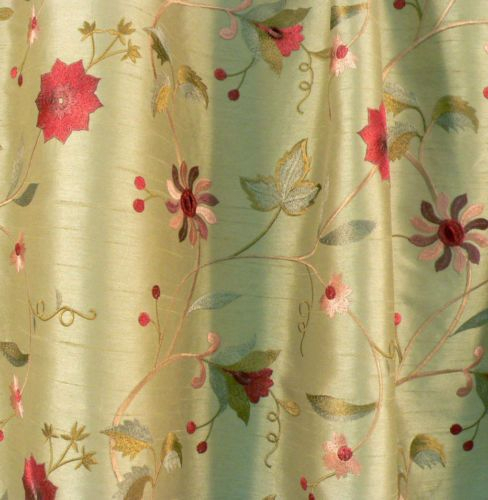 Details About Bty 100% Silk Taffeta Floral Embroidered With Regard To Ofloral Embroidered Faux Silk Window Curtain Panels (View 40 of 50)