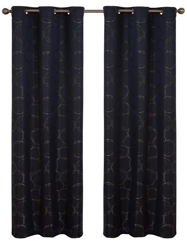 Details About Eclipse Meridian 84 In Black Polyester Grommet Blackout  Single Curtain Panel In Meridian Blackout Window Curtain Panels (#11 of 50)