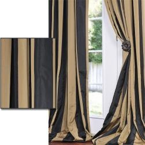 Details About Exclusive Fabrics Cabana Black Stripe Cotton In Luxury Collection Faux Leather Blackout Single Curtain Panels (View 31 of 42)