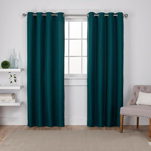 Inspiration about Details About Exclusive Home Eh8006 05 2 84G Eglinton Woven Blackout  Grommet Top Curtain Throughout Oxford Sateen Woven Blackout Grommet Top Curtain Panel Pairs (#10 of 44)