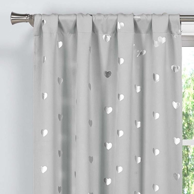 Details About Lala+Bash Kellie Hearts Room Darkening Curtain Panel Pair – Pertaining To Grommet Room Darkening Curtain Panels (View 16 of 50)