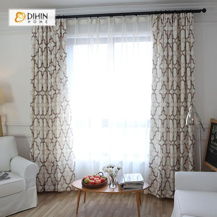 Dihin Home Brown Geometry Printed,blackout Grommet Window For Geometric Linen Room Darkening Window Curtains (View 17 of 50)