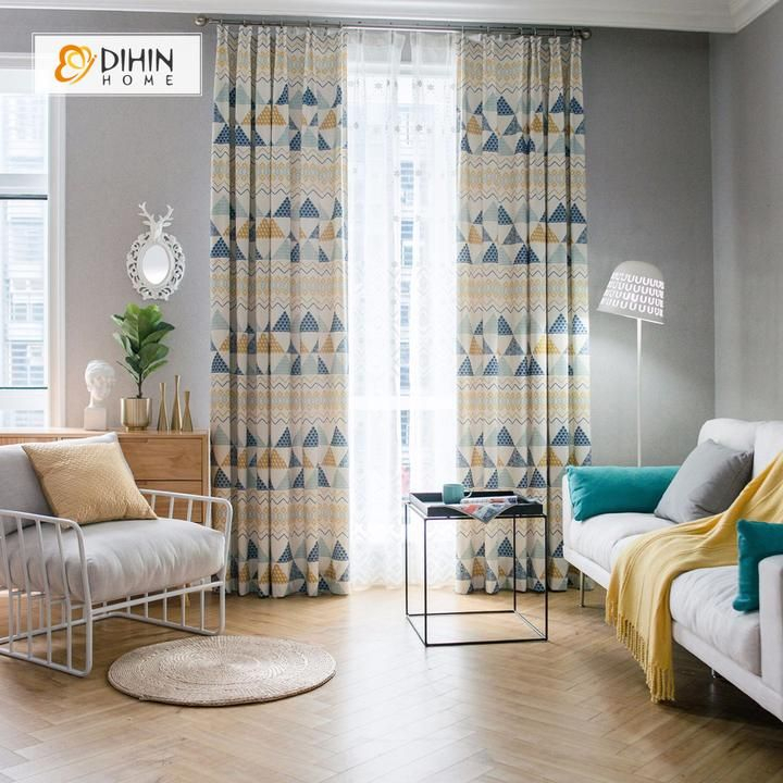 Dihin Home Printed Geometric Style ,cotton Linen ,blackout With Regard To Geometric Linen Room Darkening Window Curtains (View 18 of 50)