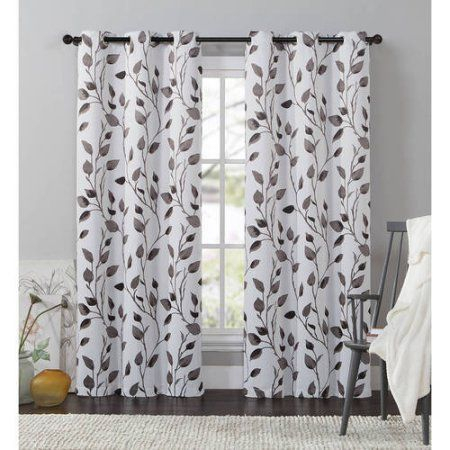 Discontinued*** Vcny Home Leaf 84 Inch Length Grommet Top Inside Davis Patio Grommet Top Single Curtain Panels (View 32 of 39)