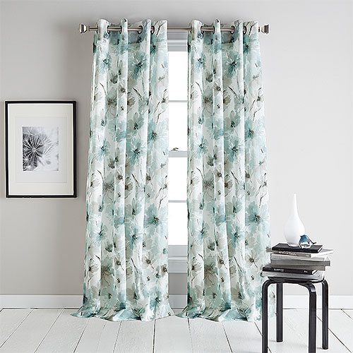 Inspiration about Dkny Modern Bloom Print Sheer Grommet Curtain Panel With Grey Printed Curtain Panels (#3 of 48)