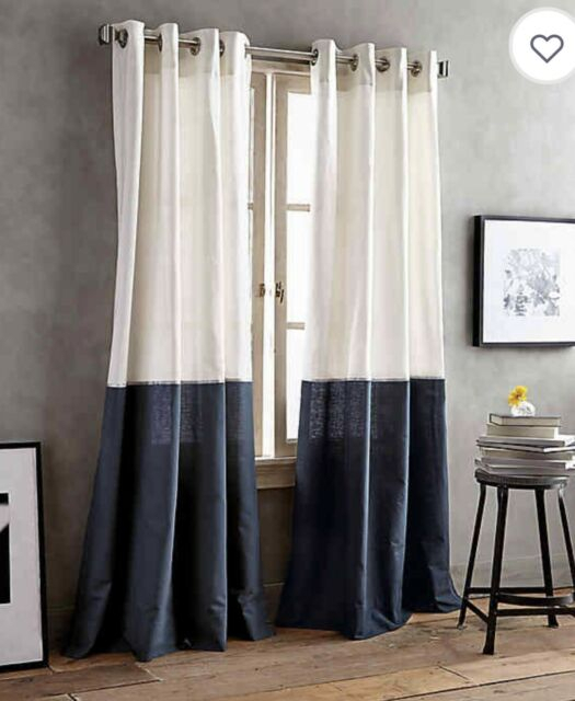 Inspiration about Dkny One 84 Inch X 50 Inch Windoe Grommet Panel Color Band In Navy Blue  Curtain Regarding Total Blackout Metallic Print Grommet Top Curtain Panels (#49 of 50)