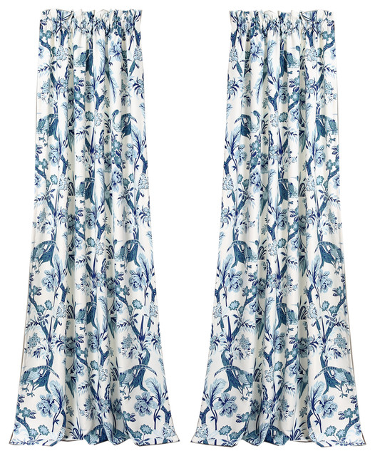 Dolores Room Darkening Window Curtain Blue Set 52X84+2 Intended For Dolores Room Darkening Floral Curtain Panel Pairs (View 6 of 35)