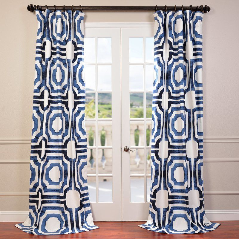 Inspiration about Donato Geometric Printed Cotton Room Darkening Rod Pocket Within Mecca Printed Cotton Single Curtain Panels (#2 of 50)
