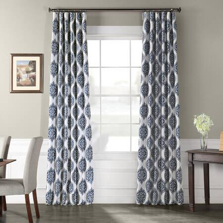 Donegal Blue Printed Faux Silk Taffeta Blackout Curtain Pertaining To Montpellier Striped Linen Sheer Curtains (#18 of 50)