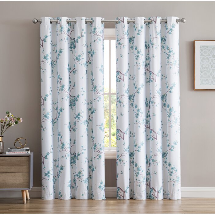 Dorcia Jasmine Floral/flower Max Blackout Thermal Grommet Panel Pair With Insulated Blackout Grommet Window Curtain Panel Pairs (View 17 of 37)
