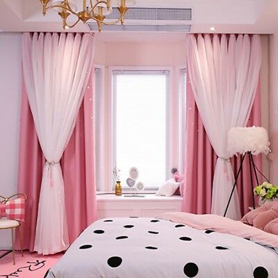 Inspiration about Double Layer Blackout Window Curtains Panel Drapes Princess With Regard To Star Punch Tulle Overlay Blackout Curtain Panel Pairs (#48 of 50)