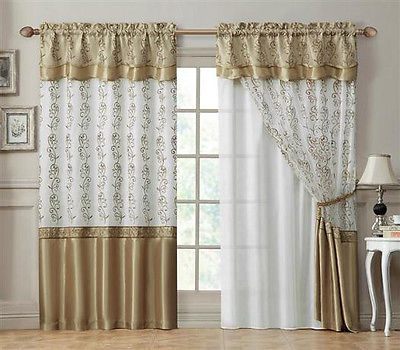 Double Layer Window Curtain Drapery Panel: White Back Panel With Gold 55X90  | Ebay Regarding Double Layer Sheer White Single Curtain Panels (View 24 of 50)