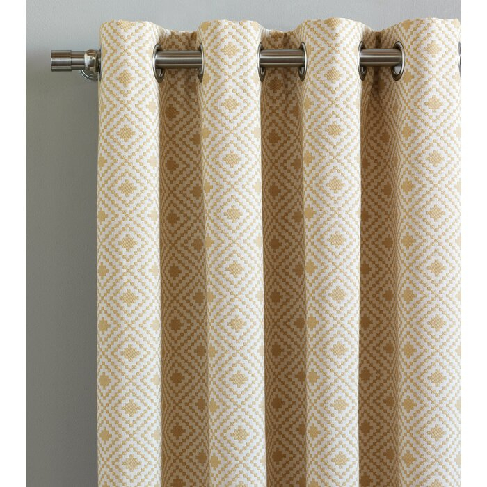 Inspiration about Downey Cyrus Straw Geometric Room Darkening Grommet Single Curtain Panel In Cyrus Thermal Blackout Back Tab Curtain Panels (#9 of 39)