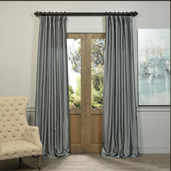 Inspiration about Drapes Storm Grey Vintage Textured Faux Dupioni Silk Gray Within Storm Grey Vintage Faux Textured Dupioni Single Silk Curtain Panels (#1 of 50)