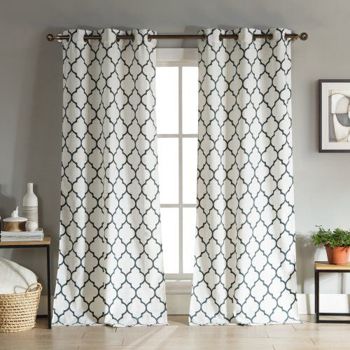 Duck River Mason Grommet Curtain Panel Pair Stone Blue | My Within Overseas Leaf Swirl Embroidered Curtain Panel Pairs (View 9 of 50)