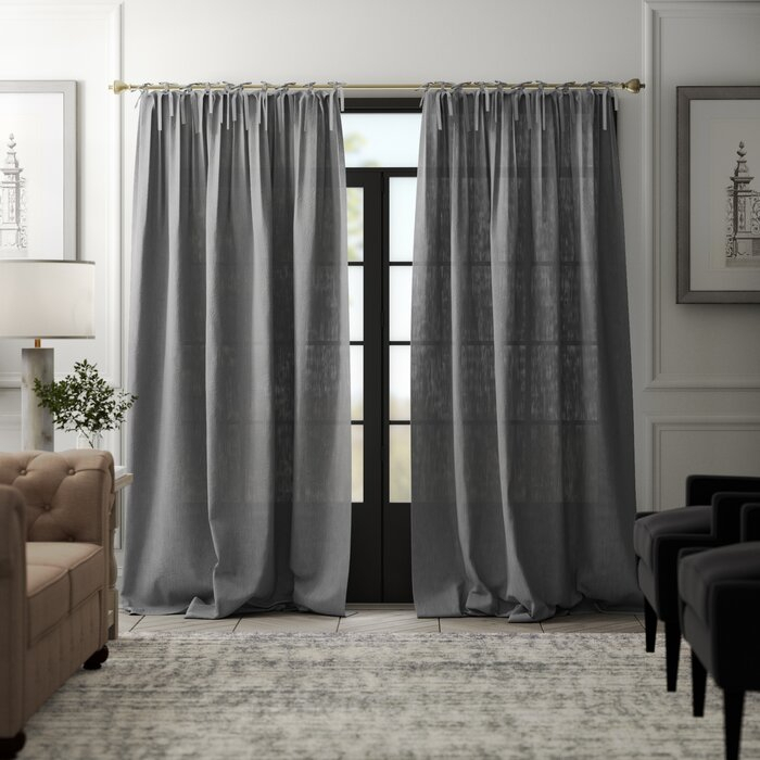 Dungannon Belgian Flax Linen Tie Top Pinch Pleat Solid Semi Sheer Tab Top  Single Curtain Panel Regarding Belgian Sheer Window Curtain Panel Pairs With Rod Pocket (View 17 of 46)