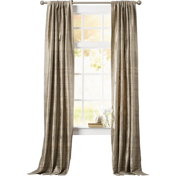 Dupioni Silk Curtains | Wayfair For Evelina Faux Dupioni Silk Extreme Blackout Back Tab Curtain Panels (View 9 of 33)