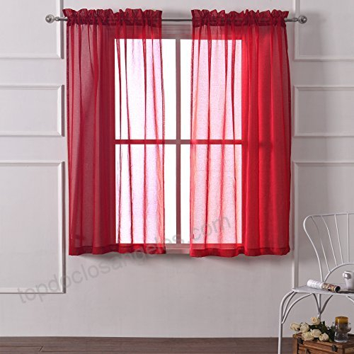 Dwcn Red Sheer Curtains Rod Pocket Curtain Faux Linen Voile Throughout Linen Button Window Curtains Single Panel (#21 of 40)