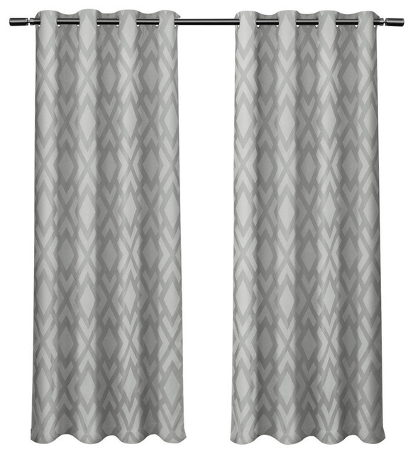 """Easton Jacquard Blackout Liner Grommet Curtains, Steel Blue, 54""""x84"""", Set  Of 2 For Easton Thermal Woven Blackout Grommet Top Curtain Panel Pairs (#16 of 44)"""
