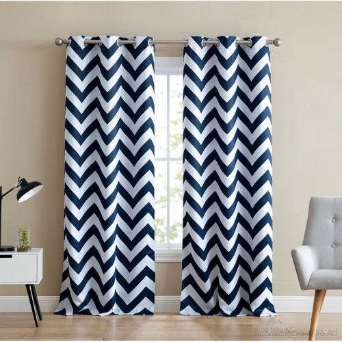 Ebern Designs Alvarenga Chevron Blackout Thermal Grommet Pertaining To Chevron Blackout Grommet Curtain Panels (View 20 of 50)