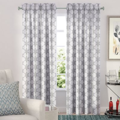 Ebern Designs Hatfield Geometric Semi Sheer Rod Pocket For Kaiden Geometric Room Darkening Window Curtains (#11 of 39)