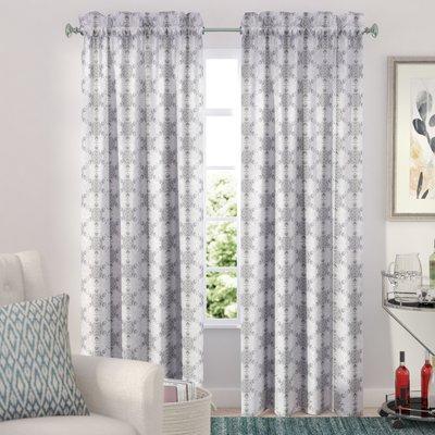 Ebern Designs Hatfield Geometric Semi Sheer Rod Pocket For Kaiden Geometric Room Darkening Window Curtains (View 11 of 39)