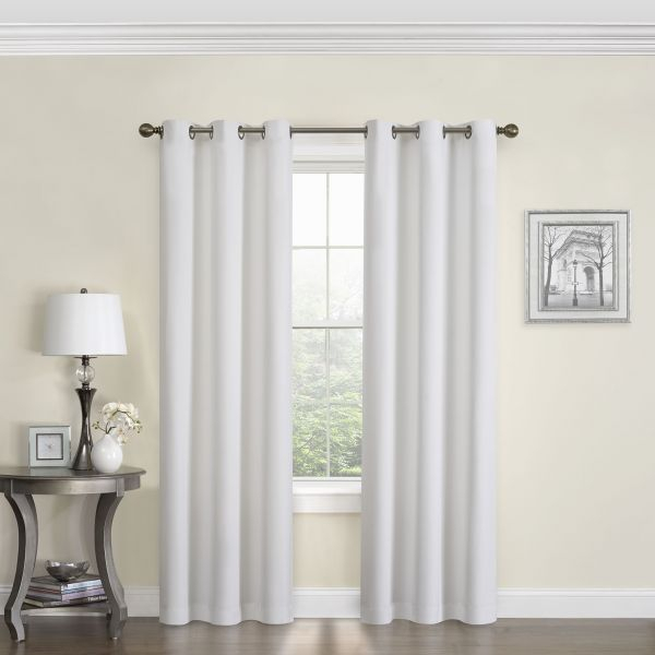 Eclipse 10708042X063Whi Microfiber 42 Inch63 Inch In Thermaback Blackout Window Curtains (#3 of 36)