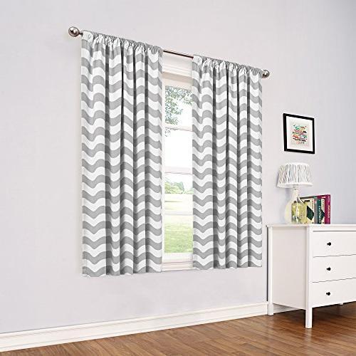 """Eclipse 13703052084Blk Round Blackout Window Curtain Panel, 52"""" With Thermaback Blackout Window Curtains (#4 of 36)"""