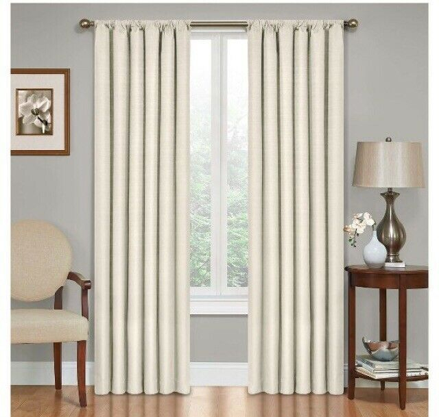 """Eclipse Curtains Kendall Blackout Energy Efficient Curtain Panel 42""""x63"""" Ivory Intended For Eclipse Corinne Thermaback Curtain Panels (View 2 of 29)"""