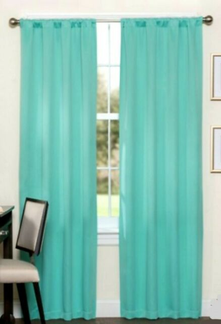 Eclipse Darrell Thermaweave Blackout Curtain Panel Set Of 2 Solid Mint 37 X  95 Pertaining To Eclipse Darrell Thermaweave Blackout Window Curtain Panels (#17 of 50)