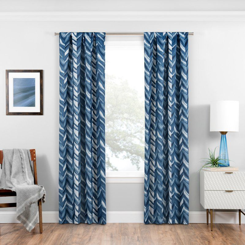 Eclipse Haley Blackout Window Curtain Panel Indigo For Eclipse Darrell Thermaweave Blackout Window Curtain Panels (#20 of 50)