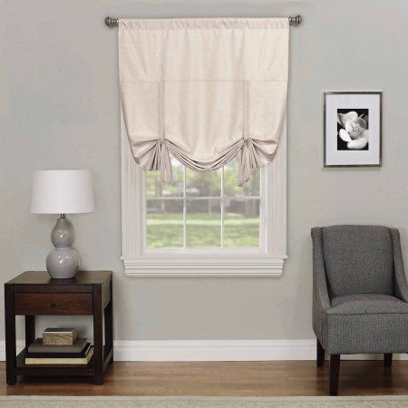 Eclipse Kendall Blackout Window Tie Up Shade, Beige In Eclipse Kendall Blackout Window Curtain Panels (#13 of 19)