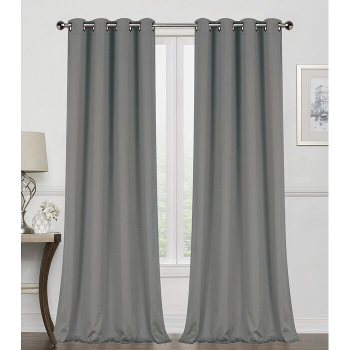 Edmondson Solid Color Max Blackout Thermal Grommet Curtain Panels With Duran Thermal Insulated Blackout Grommet Curtain Panels (#14 of 29)