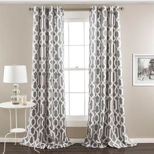 Edward Trellis Gray 95 Inch X 52 Inch Panel Pair Pertaining To Leah Room Darkening Curtain Panel Pairs (#9 of 50)