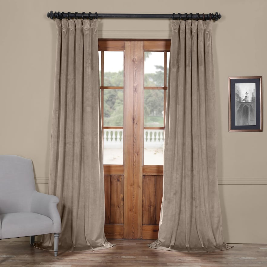 Eff 1 Panel Heritage Plush Velvet Curtain, Med Beige, 50X84 With Regard To Heritage Plush Velvet Curtains (View 14 of 50)