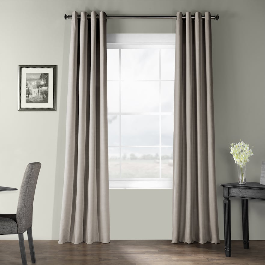 Eff Bark Weave Solid Grommet Window Curtain, Med Grey, 50X96 Throughout Solid Country Cotton Linen Weave Curtain Panels (#14 of 50)
