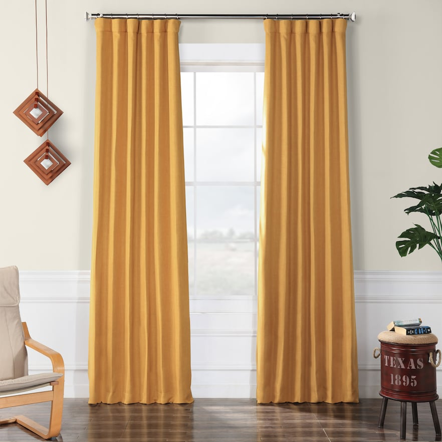 Eff Faux Linen Blackout Window Curtain, Gold, 50X84 In 2019 Throughout Faux Linen Extra Wide Blackout Curtains (View 14 of 50)