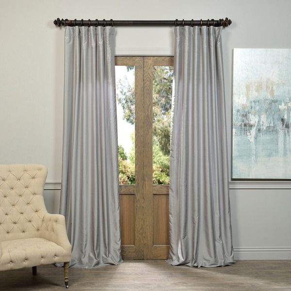 Popular Photo of Silver Vintage Faux Textured Silk Curtain Panels