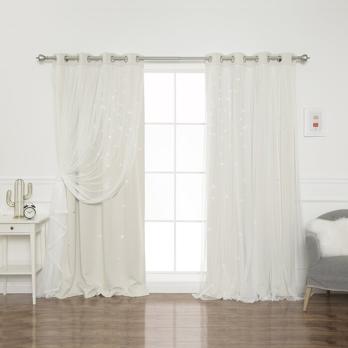 Efird Tulle Overlay Star Cut Out Blackout Thermal Grommet Curtain Panel Within Mix And Match Blackout Blackout Curtains Panel Sets (#33 of 50)