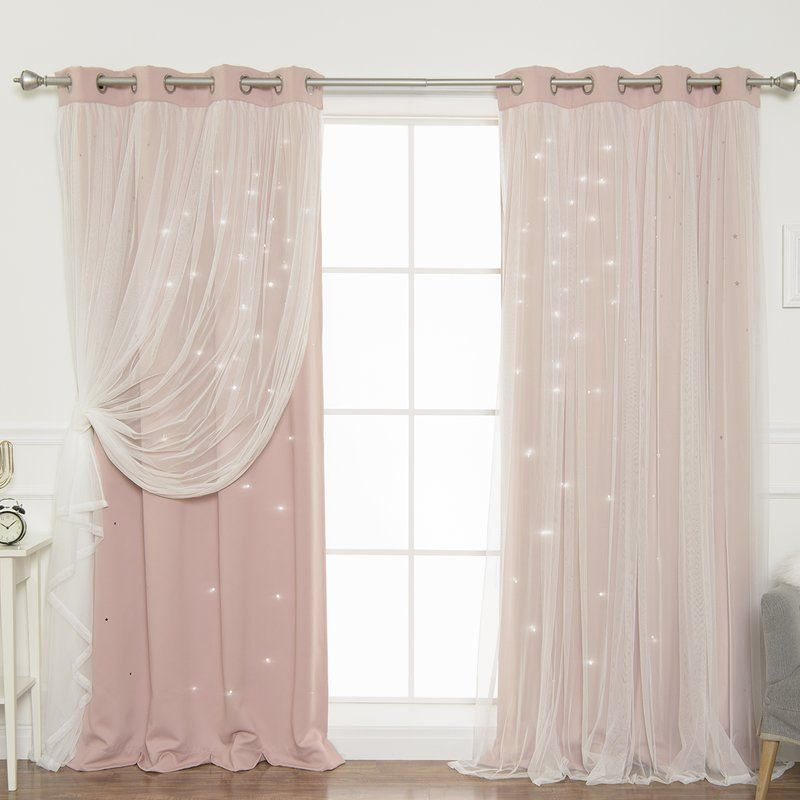 Efird Tulle Overlay Star Cut Out Blackout Thermal Grommet With Star Punch Tulle Overlay Blackout Curtain Panel Pairs (View 15 of 50)