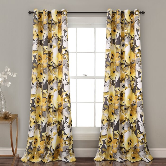 Eggen Floral Room Darkening Grommet Curtains/drapes Throughout Leah Room Darkening Curtain Panel Pairs (#10 of 50)