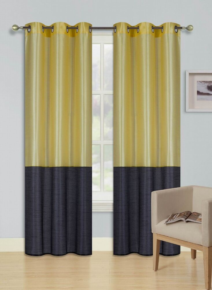 Eid Yellow Black Insulated Lined Blackout Grommet Window In Insulated Blackout Grommet Window Curtain Panel Pairs (#14 of 37)