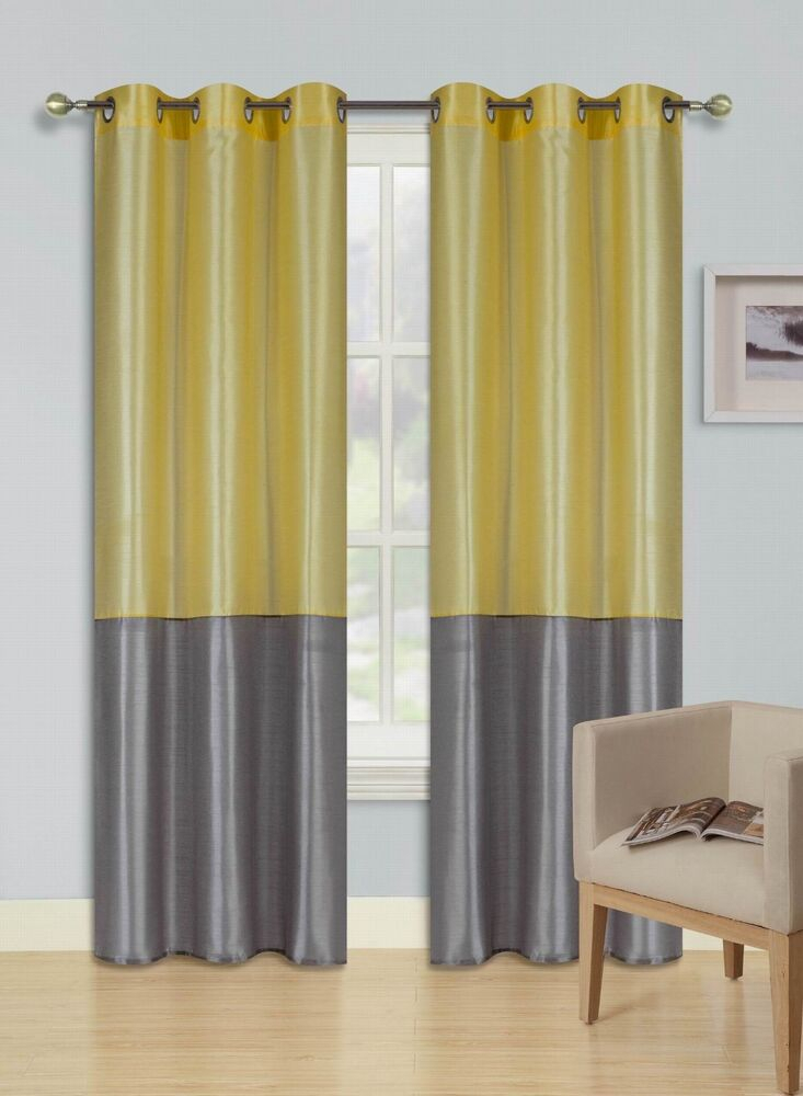 Eid Yellow Silver Insulated Lined Blackout Grommet Window Throughout Antique Silver Grommet Top Thermal Insulated Blackout Curtain Panel Pairs (View 21 of 40)