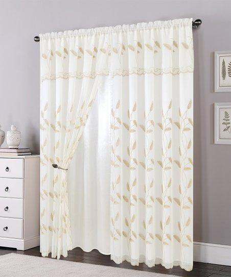 Elegance Linen Beige Ella Window Panel – Set Of Two | Zulily Throughout Ella Window Curtain Panels (View 13 of 50)