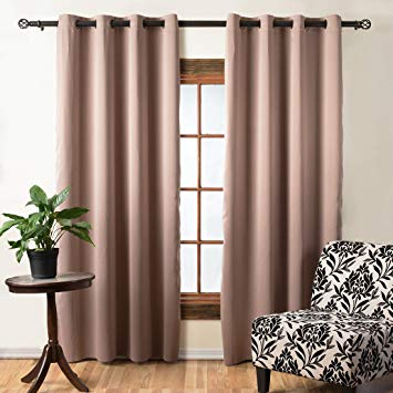 Elegant Light Brown Curtain Wood Drape Window Treatment The With Tacoma Double Blackout Grommet Curtain Panels (View 18 of 48)