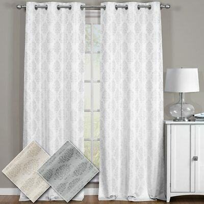Elegant Paisley Thermal Blackout Jacquard Grommet Top With Thermal Rod Pocket Blackout Curtain Panel Pairs (#21 of 50)