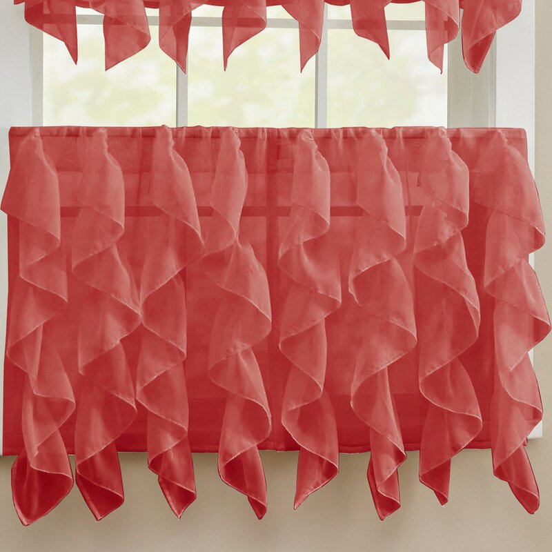 Elegant Sheer Voile Vertical Ruffle Window Kitchen Tier Curtain Throughout Sheer Voile Waterfall Ruffled Tier Single Curtain Panels (#11 of 50)