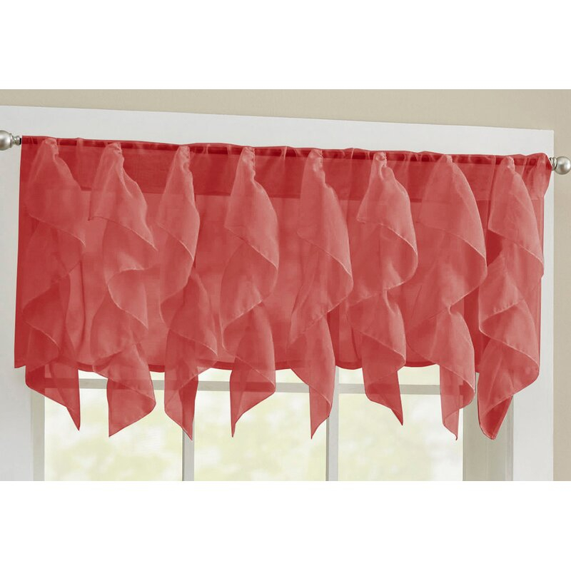 Elegant Sheer Voile Vertical Ruffle Window Kitchen Tier Curtain With Sheer Voile Waterfall Ruffled Tier Single Curtain Panels (#12 of 50)