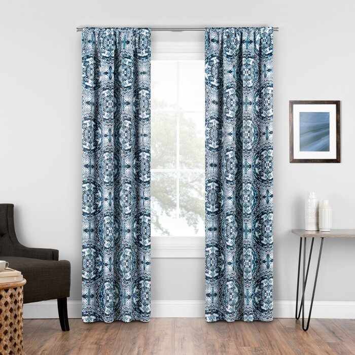 Elena Geometric Blackout Rod Pocket Single Curtain Panel Intended For Thermaback Blackout Window Curtains (#28 of 36)